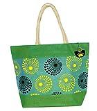 Neska Moda Swachh Bharat Women's Polka Dot Design Green Yellow Jute Bag Shoulder Bag - Made In INDIA