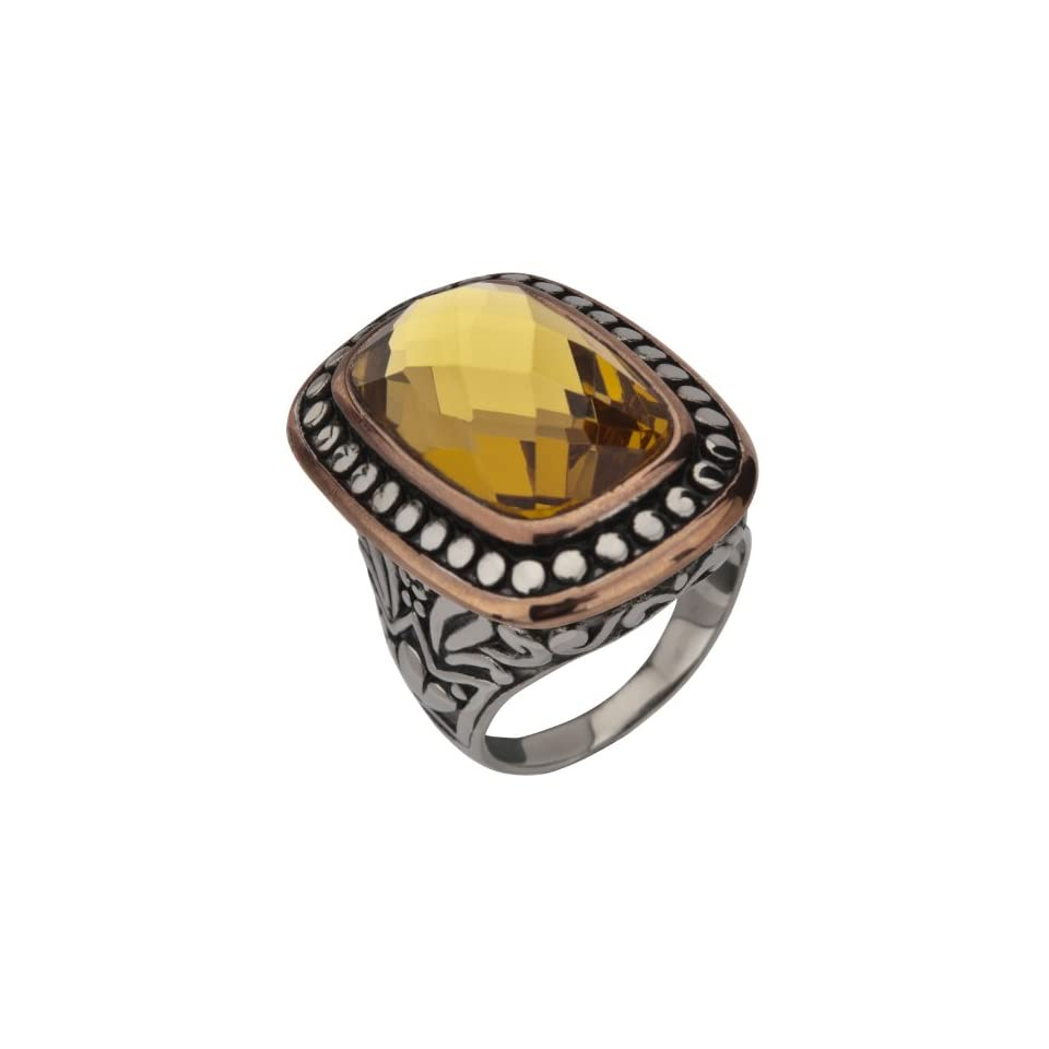 Stainless Steel Cut Topaz Crystal Ring  Size 6