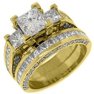 14k Yellow Gold 6 Carats Princess 3-Stone Diamond Engagement Ring Bridal Set
