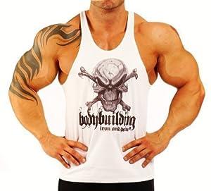 d bardeur pour hommes blanc motif t te de mort bodybuilding musculation sports et. Black Bedroom Furniture Sets. Home Design Ideas