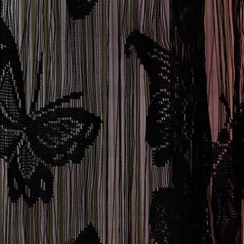 Coper Print Floral Voile Door Window Room Curtain With Butterfly Design 78 x 39 inch (Black) (Window Cover 39 Inch Length compare prices)
