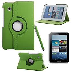 RKA 360°Rotating PU Leather Stand Case For Samsung Galaxy Tab2 7.0 P3110 P3100 P3113 Green