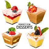 Dessert Cups - Mini Cubes, Clear Tasting Sample Glass, 50Ct Small 2oz Containers, Elegant Square Plastic Bowls, Disposable, for Appetizers, Shooters, Chocolate Parfait, Jello Shot & Catering Supplies