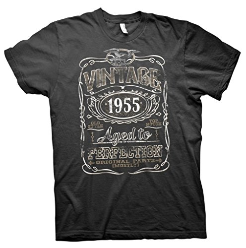 Vintage Aged To Perfection 1955 - Distressed Print - 60th Birthday Gift T-shirt  - Black