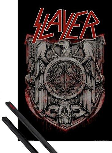 Poster + Sospensione : Slayer Poster Stampa (91x61 cm) Eagle e Coppia di barre porta poster nere 1art1®