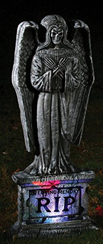 "Halloween Decor: 24"" Tombstone- Gothic Lighted Angel"