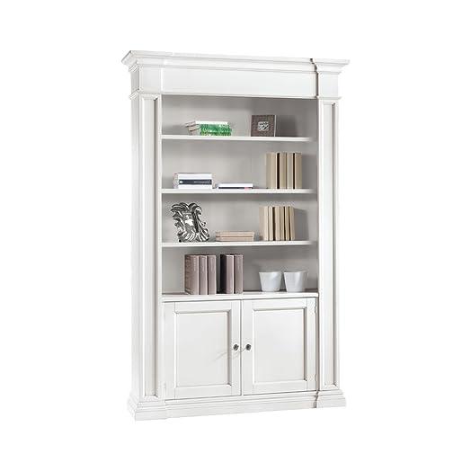 Libreria 2 porte, stile classico, in legno massello e mdf - Mis. 140X40X220H
