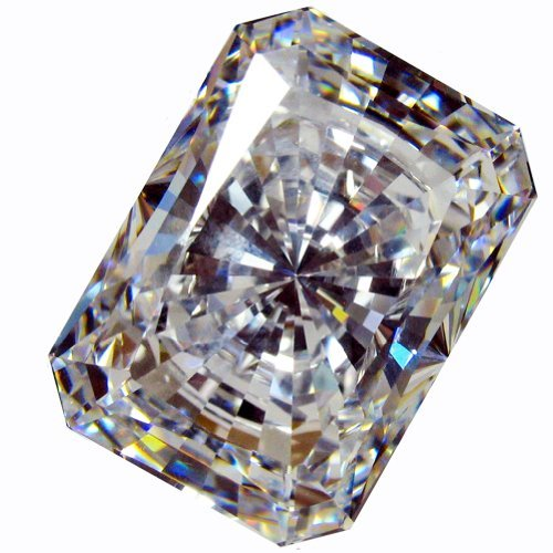 CUBIC ZIRCONIA (LOOSE STONE CUBICZIRCONIA) WHITE COLOR EMERALD SHAPE/ ROUND CUTTING CLEAR CZ 14.0 X 10.0 MM (10.00 CTS DIAMOND WEIGHT) SUPER & SUPER QUALITY .NOT AAA or AAAAA QUALITY by LOGOS