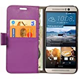 Cock Flip Cover For HTC One M9 Leather Case Cover With Kickstand Feature Purple