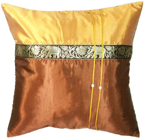 Artiwa Throw Decorative Pillow Cover for Sofa Couch Bed Natural Leaf with Vintage Elephants Silk 16x16 Gold /& Brown