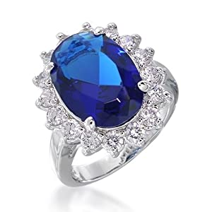 Bling Jewelry Kate Middleton Color Diana Sterling Silver CZ Blue Sapphire Color Royal Engagement Ring Kate Middleton Color Style - Size 6