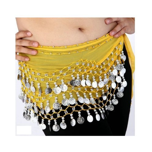 Buy Home Chiffon Dangling Silver Coins Belly Dance Hip Skirt Scarf Wrap Belt (Purple)