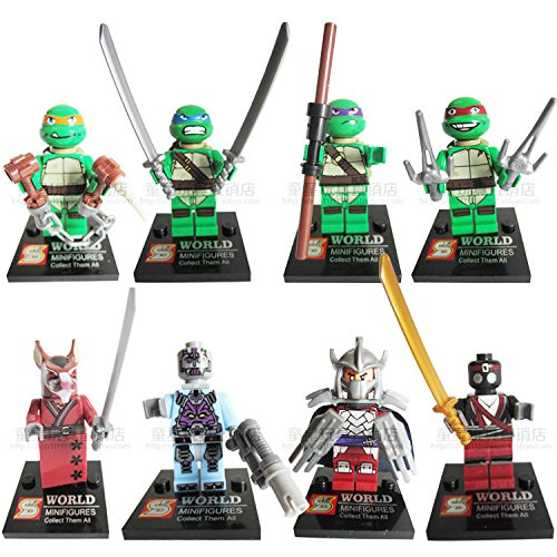 TMNT Teenage Mutant Ninja Turtles Lot of 8 Set Action Mini Figures Building Toy