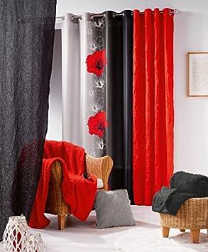 7 douceur d 39 int rieur 1603923 rideau oeillets imprim maeva polyester rouge 240 240 x. Black Bedroom Furniture Sets. Home Design Ideas