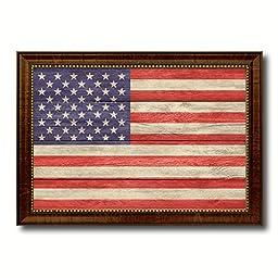 USA National Country Flag Texture Canvas Print, Frame Patriotic Souvenir Gift Ideas office Home Décor Wall Art Livingroom Vintage Decoration Interior Design, 15\