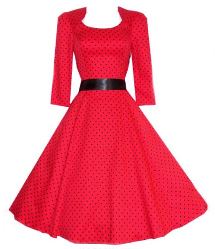 Ladies 40′s 50′s Vintage Style Red Polka Dot Crop Sleeve