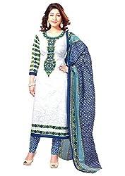 Reya Womens Printed Cotton Dress Material (403_Blue)