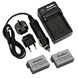 MaximalPower FC500 Travel Charger with Two Replacement Battery for Canon LP-E8, EOS 550D, 600D, 650D, 700D, 750D Cameras.