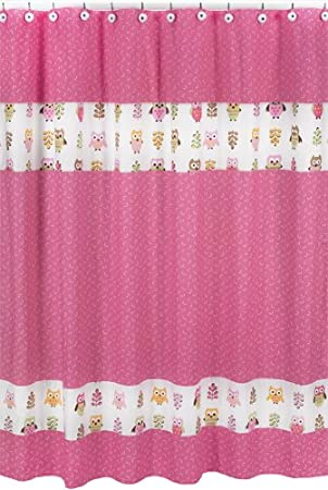 Pink Happy Owl Kids Bathroom Fabric Bath Shower Curtain