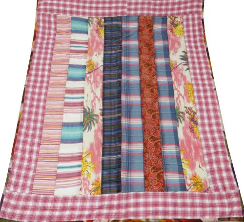 "Multicolored Crib Size Baby Quilt Handmade Patchwork Decorative Home Decor Reversible Bedspread India 48"" X 38""Inches Free Shipping front-985706"