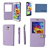 Case for Galaxy S5,By Ailun, Wallet Case,PU Leather Case,Cut,Credit Card Holder,Flip Cover Skin,(Purple),with Screen protector with Styli Pen