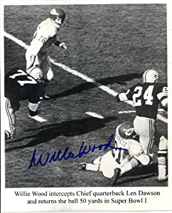 Willie Wood (Green Bay Packers - Super Bowl I & II) Autographed/ Original Signed 8x10 Action-photo Showing Wood Making an Interception and Returning the Ball 50 Yards in Super Bowl I Against Len Dawson and the Chiefs