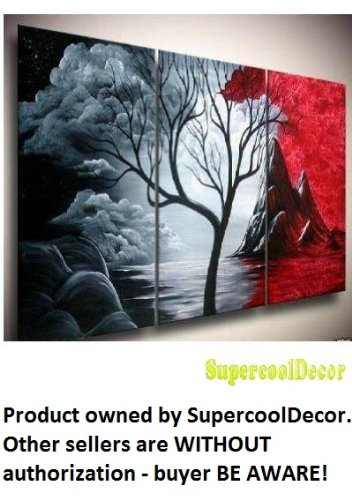 Impression - Grey and Red - 24(H)x48(W) Modern Oil Painting on Canvas Stretched Framed - Return shipping covered for continental US regions