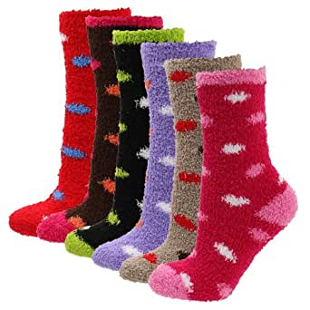 Soft Warm Microfiber Fuzzy Winter Socks Crew 6pairs(1pack
