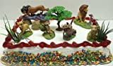 Lion King Birthday Cake Topper Set Featuring Mufassa, Zazu, Pumbaa, Scar, Timon, Nala, Simba and Decorative Rocks, Safari Grass, and Tree of Life Themed Pieces