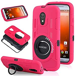 """Moto G 2nd Generation Case, HAOCOO Extreme-Duty Shockproof Full-body Rugged Hybrid Protective Case Cover With 360 Degree Rotating """"RING"""" Stand and Built-in Screen Protector for All New Motorola Moto G (2nd Gen)- - Not Fit Moto G Phone (1st generation) (Pink)"""