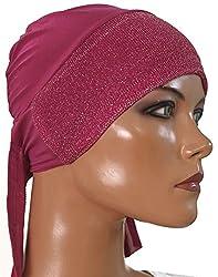 Apparelsonline Pink Sparkle Hijab cap Stylish wedding party Wear Amira Cap