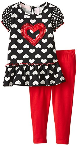 Kids Headquarters Little Girls' Heart Printed Tunic with Red Leggings