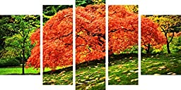 Startonight Canvas Wall Art Red Tree on a Green Garden, Nature USA Design for Home Decor, Dual View Surprise Wall Art Set of 5 Total 35.43 X 70.87 Inch Original Art Painting!