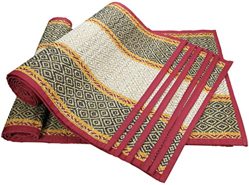 SouvNear Christmas Gift deals - Table Decor - Placemats and Table Runner Set - 6 Placemats [12 X 16 Inch] and 1 Runner [12 x 49 Inch] - Handmade, Roll-able Table Mats and Runner Made of Darbha Grass Straw and Black, White and Orange Thread with a Red Cotton Fabric Border for Your Dining Table, Beach Outings, Shelves and Other Surfaces
