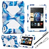 ACEGUARDER Military-Duty Series For Amazon Kindle Fire HDX 7'' Rainproof Snowproof Dirtproof Shockproof Cover Case With Stand Designed For Home or Kids Use ,Outdoor Sports, Travel, You will Be Glad To Get The Gifts (Outdoor Carabiner + Whistle + Stylus Pe