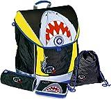 Spiegelburg 12471?Juego de mochila Ergo Style FUN, Shark Attack Capt 'n Sharky, color fluorescente