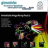KNIXS - Knicklichter Mega Party Pack 2, seit 10 Jahren in Profiqualität, deutsche Testnote: 1,6 - Sonderedition mit Original TrinkKNIXS Strohhalm Trinkhalmen, vielen Extrateilen und den beliebten Knicklicht-Haarreifen
