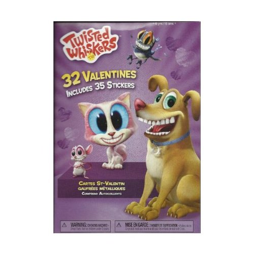 Twisted Whiskers Valentine Cards (32) Pack Plus 35 Stickers