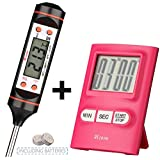 REzone Cooking Thermometer and Timer in Easy Kitchen Kit (2 in 1) Digital Stainless Instant Read Food and Baby Bath Thermometer and Kitchen Timer
