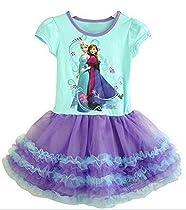 Disney Frozen Elsa/Anna Short Sleeve Shimmer Mesh Tutu Dress Purple