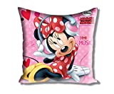 "Disney Minnie Filled Small Satin Polyester Cushion - 12""x12"", Pink"