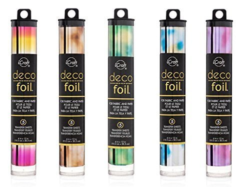 Therm O Web Deco Foil - Watercolor Transfer Sheets - Amber, Emerald, Amethyst, Lapis & Summer Rainbow - Bundle 5 iCraft Speciality Foil Packages
