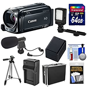 Canon Vixia HF R52 32GB 1080p HD Wi-Fi Digital Video Camcorder with 64GB Card + Battery & Charger + Hard Case + LED Light + Mic + Tripod Kit
