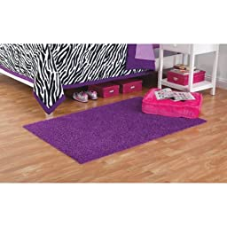 Tufted Solid Shag Rug 100% Polyester Pile Size 5\'x8\' (Purple)