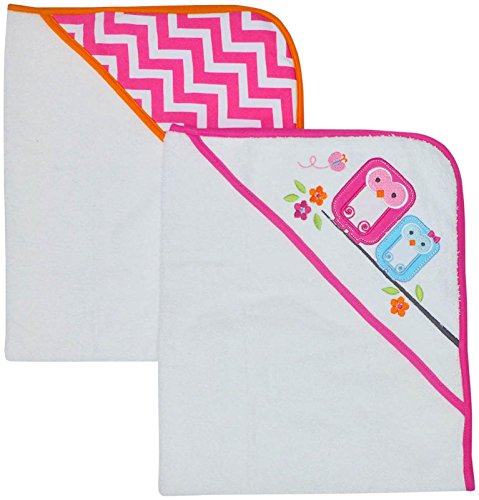 Happy Chic by Jonathan Adler Applique, Print Interlock and Woven Terry Hooded Towel, Pink Owl, 2 Count