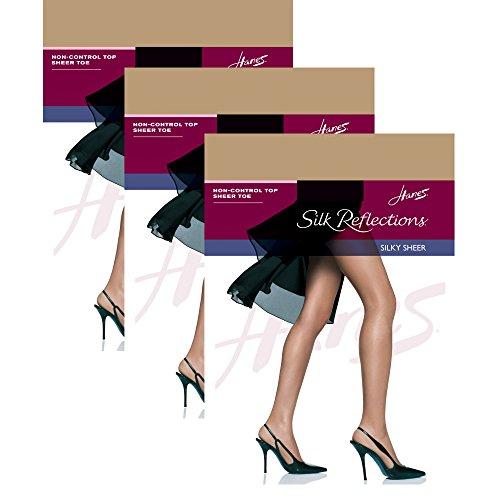 Hanes Women`s Set of 3 Silk Reflections Non-Control Top Sheer Toe Pantyhose AB, Little Color (Non Control Top Pantyhose compare prices)
