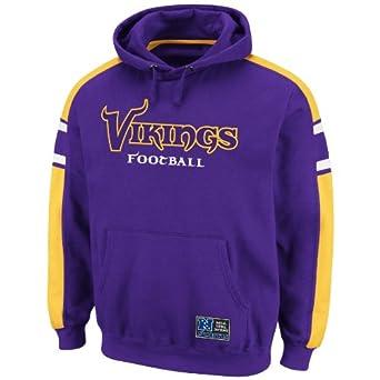NFL Mens Minnesota Vikings Passing Game II Long Sleeve Hooded Fleece Pullover (Regal Purple/Yell Gold/White, Small)