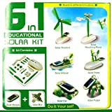 Gem 1 Pack of 6 in 1 Solar DIY Educational Kit Toy for Car Plane Puppy Windmill Airboat Revolving Plane Gadget 3-10 Years Old Kids Boy Children