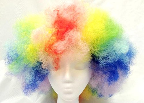 Rainbow Clown Adult Wig Curly Afro Mens Womens Costume Accessory Pride New
