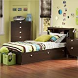 South Shore Cakao Twin Storage Bed and Bookcase Headboard, Chocolate